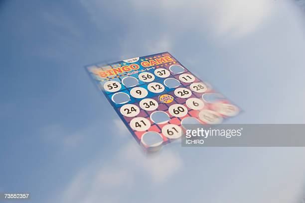 Bingo card floating in cloudy sky