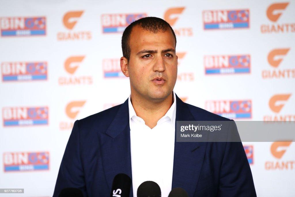 Bingo Industries CEO Daniel Tartak speaks to the media during a GWS Giants AFL Media Announcement that Bingo Industries will sponsor the Giants at the WestConnex Centre on March 6, 2018 in Sydney, Australia.