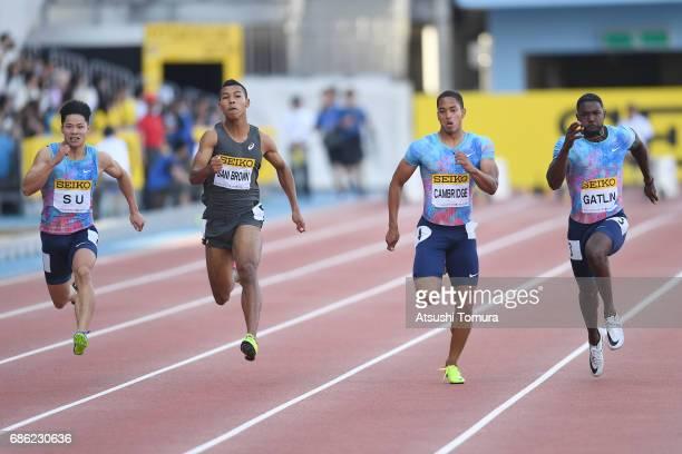 Bingtian Su of China Abdul Hakim Sani Brown of Japan Aska Cambridge of Japan and Justin Gatlin of the USA compete in the Men's 100m during the SEIKO...