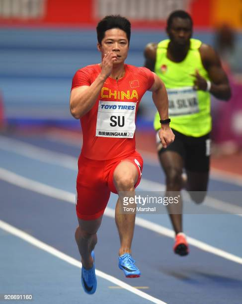Bingtian Su of China competes in the Men's 60m Heats during Day Three of the IAAF World Indoor Championships at Arena Birmingham on March 3 2018 in...