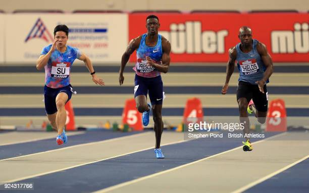 Bingtian Su of China Reece Prescod of Great Britain and Ryan Shields of Jamaica compete in the mens 60m heats during the Muller Indoor Grand Prix...