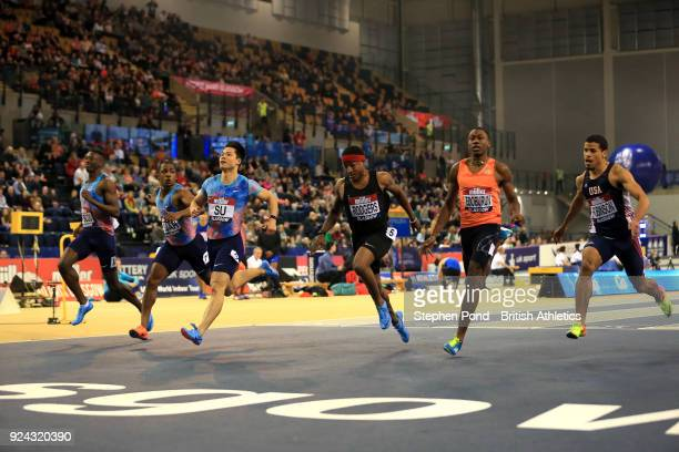 Bingtian Su of China wins the mens 60m final during the Muller Indoor Grand Prix event on the IAAF World Indoor Tour at the Emirates Arena on...