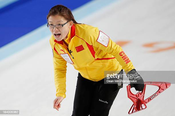 Bingyu Wang of China screams instructions to team mates in the match between Germany and China on Day 4 of the Titlis Glacier Mountain World Women's...