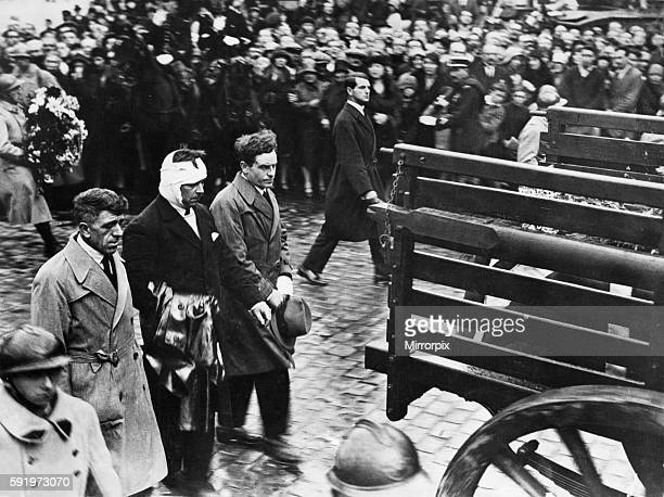 J H Binks H J Leech and A V Bell¿in the procession of coffins of the fortyeight victims from Beauvais Town Hall to the railway station for transport...