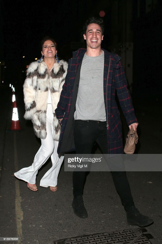 Binky Felstead and Josh Patterson attend In The Style TOTES OVER IT Valentine's Party at Libertine on February 8, 2018 in London, England.