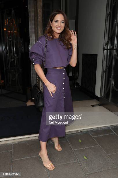 Binky Felstead arrives at Claridge's for the Hello Mother Daughter Afternoon Tea event to mark the International Day of the Girl on October 10 2019...