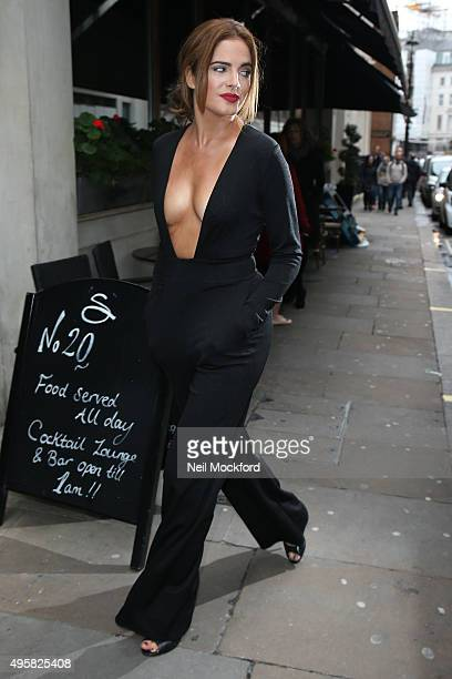 Binky Felstead arrives for her Perfume 'Wild by Binky' launch at The Soho Sanctum Hotel on November 5 2015 in London England