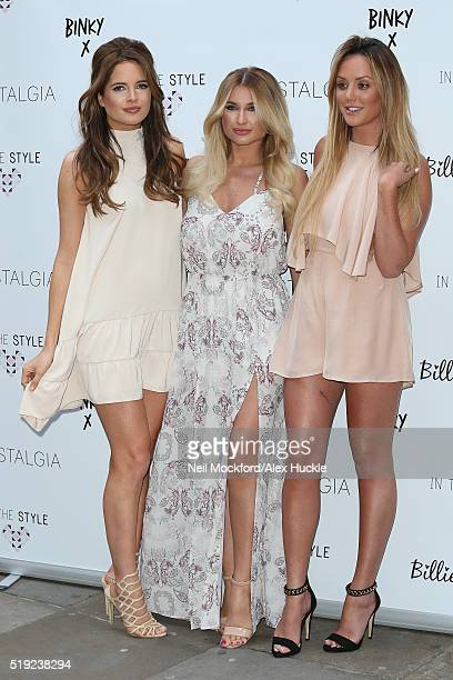 Binky Felstead Billie Faiers and Charlotte Crosby seen modelling their 'In The Style' clothing range outside The Soho Sanctum on April 5 2016 in...