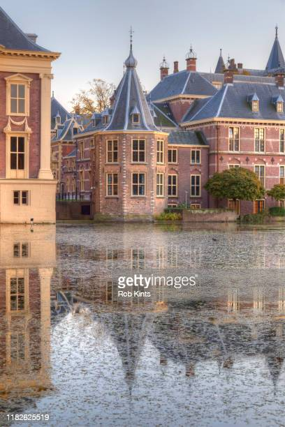 binnenhof and het torentje reflected in the court pond ( hofvijver ) - den haag stock-fotos und bilder