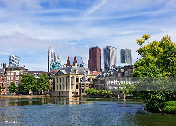 binnenhof and highrise buildings - the hague stock pictures, royalty-free photos & images