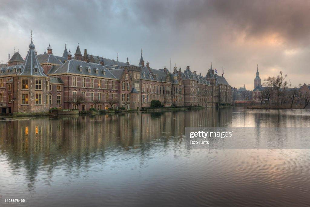 Binnenhof, Dutch Houses of Parliament, reflected in the Court Pond ( Hofvijver ) : Photo