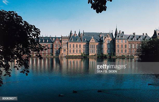 Binnenhof palace complex seen from Hofvijver lake The Hague Netherlands 13th17th century