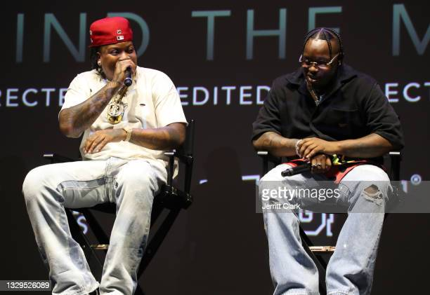 Bino Rideaux and Blxst onstage at the Blxst & Bino Rideaux 'Sixtape 2' release event at The Theatre at Ace Hotel on July 15, 2021 in Los Angeles,...