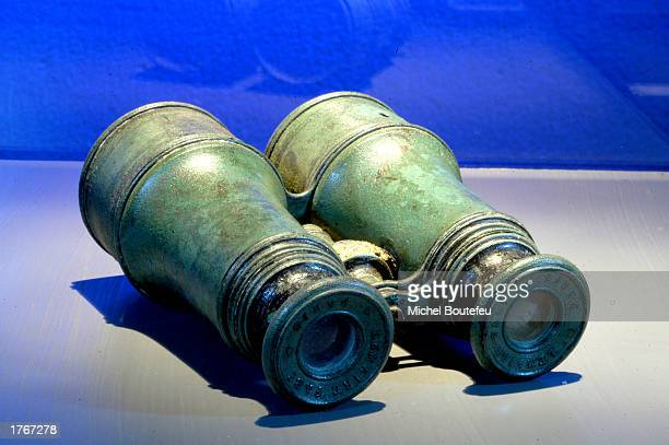 A binocular from the Titanic is on display at 'TITANIC The Artifact Exhibit' at the California Science Center on February 6 2003 in Los Angeles...