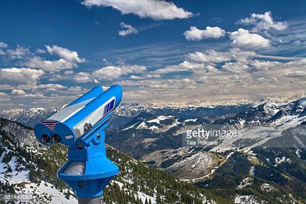 Binocular viewer in Wendelstein Mountain in Bayrischzell, Bavaria, Germany