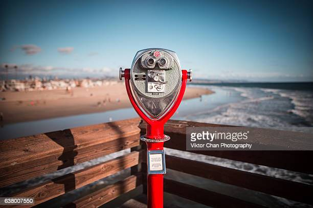 binoculars at newport pier - newport beach stock pictures, royalty-free photos & images