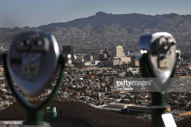 Binoculars for sightseers are seen in front of the skyline of El Paso and Ciudad Juarez Mexico on July 18 2018 in El Paso Texas A courtordered July...