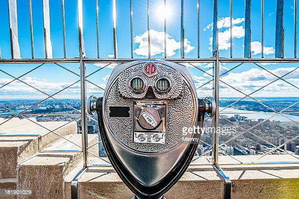 binoculars, new york city skyline empire state building - observation point stock pictures, royalty-free photos & images