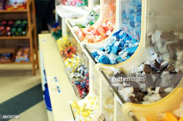 bins of candy inside a candy store. - cape may stock pictures, royalty-free photos & images