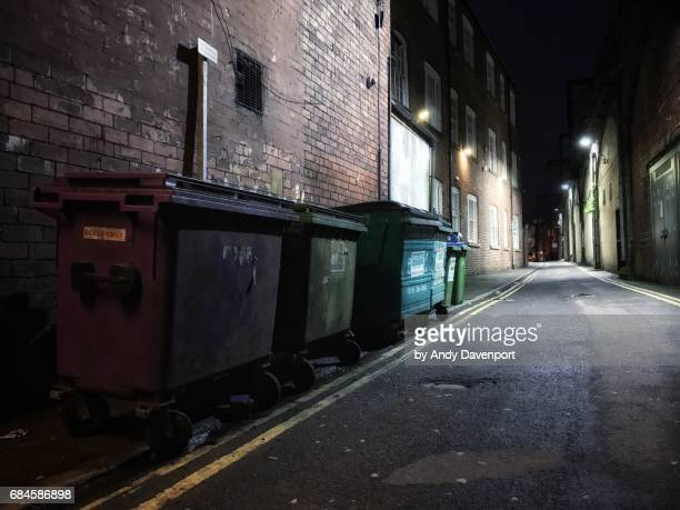 Bins on the Street at Night