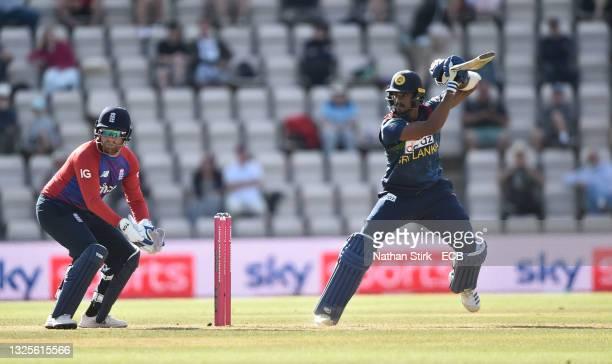 Binura Fernando of Sri Lanka bats during the T20 International Series Third T20I match between England and Sri Lanka at Ageas Bowl on June 26, 2021...
