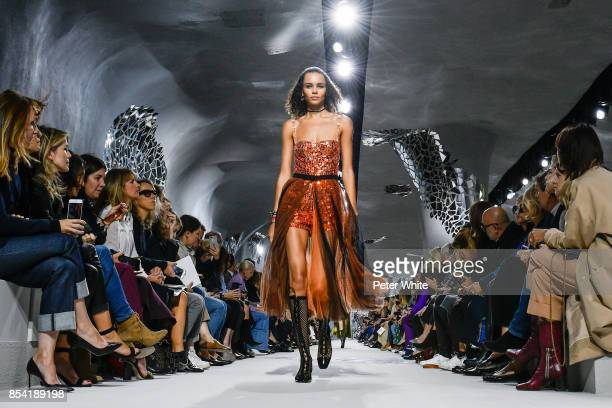 Binx Walton walks the runway during the Christian Dior show as part of the Paris Fashion Week Womenswear Spring/Summer 2018 on September 26 2017 in...