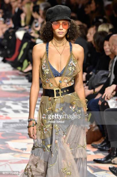 Binx Walton walks the runway during the Christian Dior show as part of the Paris Fashion Week Womenswear Fall/Winter 2018/2019 on February 27 2018 in...