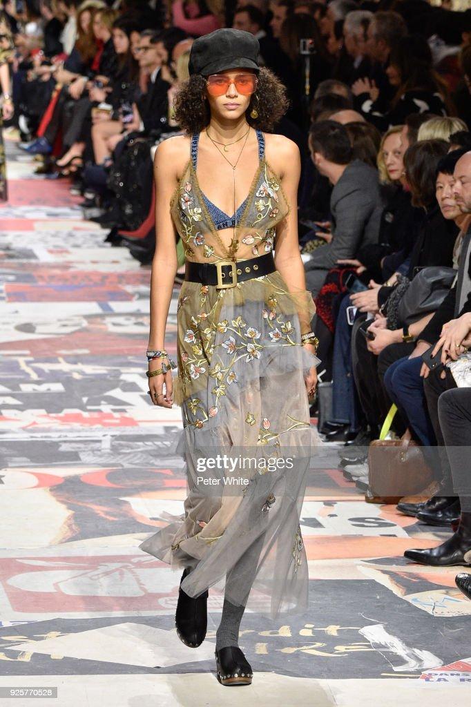 Binx Walton walks the runway during the Christian Dior show as part of the Paris Fashion Week Womenswear Fall/Winter 2018/2019 on February 27, 2018 in Paris, France.