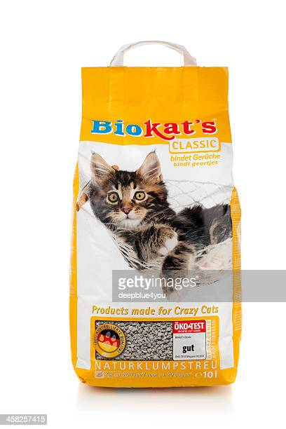 bio kat`s classic litter on white - litter box stock photos and pictures
