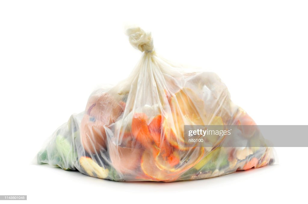 biodegradable waste in a biodegradable bag : Stock Photo