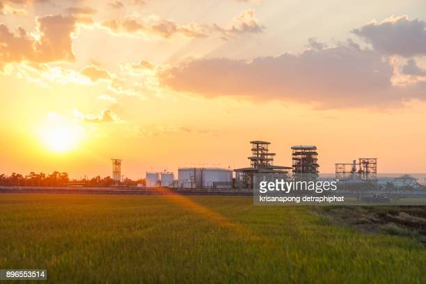 Biodiesel refinery in Thailand.,sunset,sky