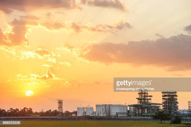 Biodiesel refinery in Thailand.,sunset,sky