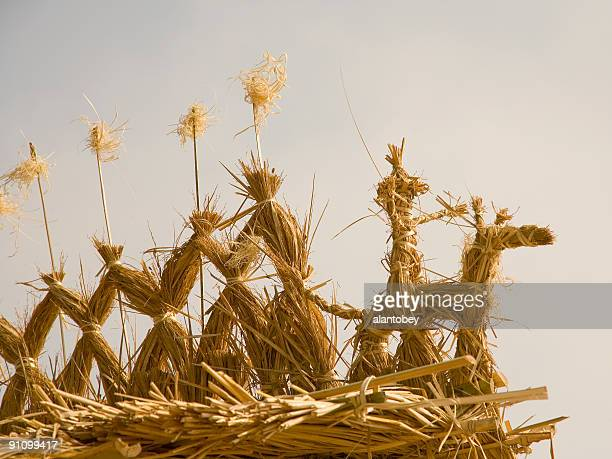 biofuel icon: straw harvest figures (biomass conversion) - harvest icon stock pictures, royalty-free photos & images