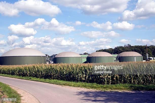 Biogas plant with four silos