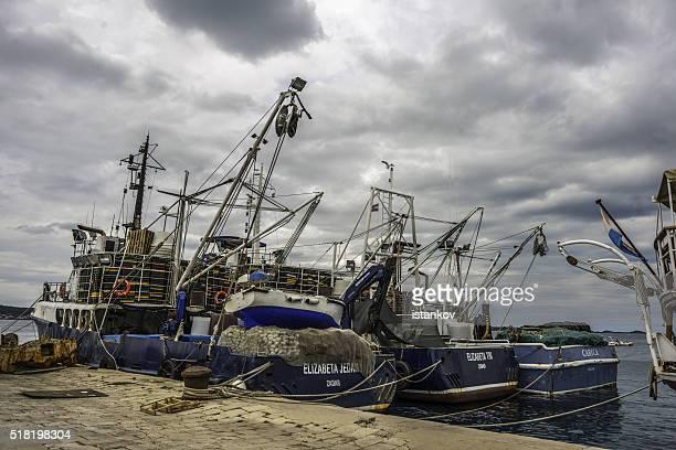 Biograd na Moru, Croatia, Fishig boats moored to the pier