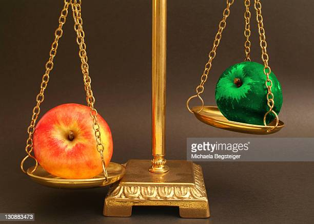 Biological apple contra genetically modified apple