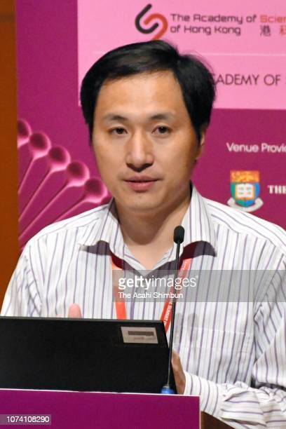 Biological researcher He Jiankui speaks on day two of the Second International Summit on Human Genome Editing at the University of Hong Kong on...