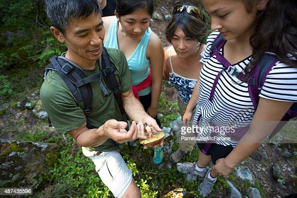 Biologist Teaching Mushroom Identification to Group of Hikers in Woods
