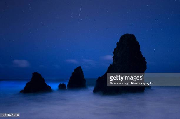 bioluminescence and meteor at rodeo beach - plankton stock pictures, royalty-free photos & images