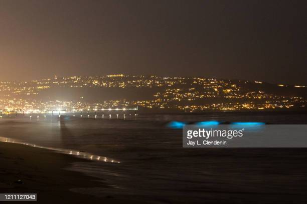 Bioluminescent waves glow off the coast of Hermosa Beach CA Sunday April 26 2020 The phenomenon is associated with a red tide or an algae bloom...