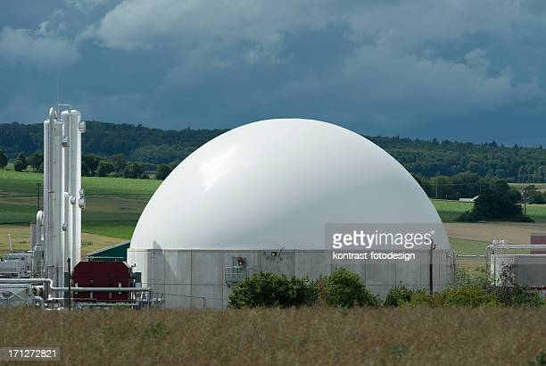 Biomass energy plant under an approaching thunderstorm, Bioenergie