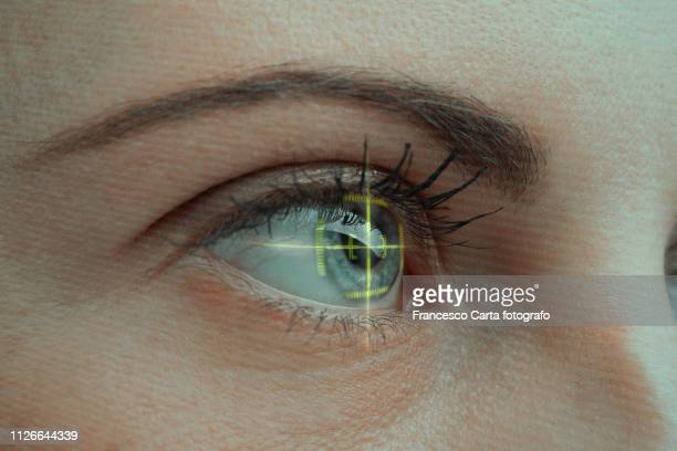 biometric eye scan - biometrics stock photos and pictures