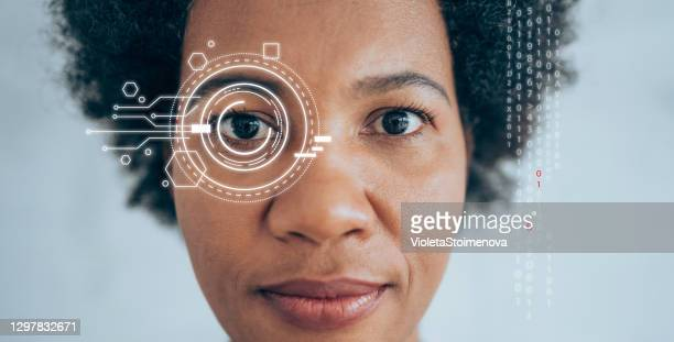 biometric security scan - robot stock pictures, royalty-free photos & images