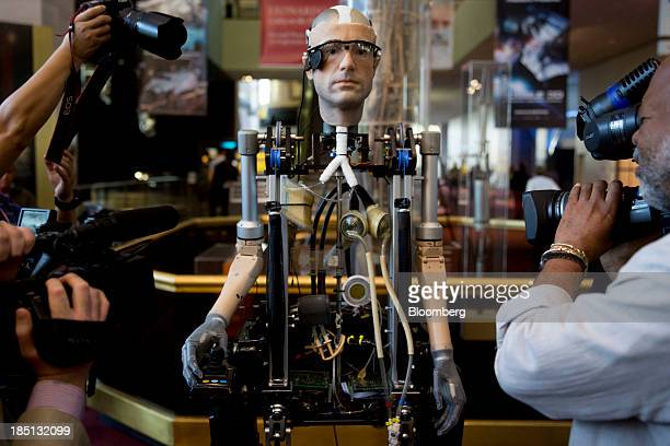 A bionic man human model stands on display at the Smithsonian National Air and Space Museum in Washington DC US on Thursday Oct 17 2013 The model is...