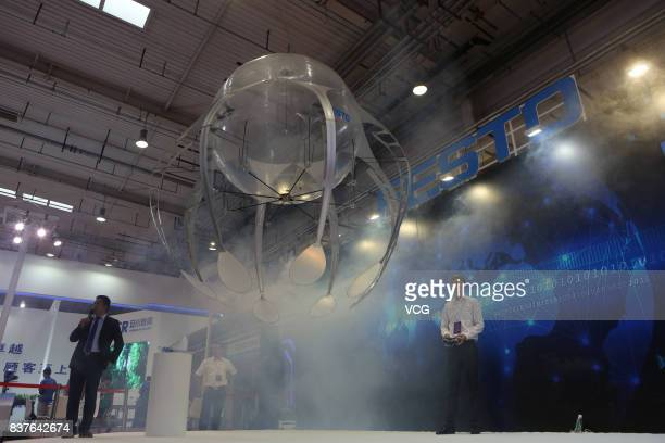A biorobot flies like a jellyfish at the World Robot Conference 2017 is held at Etrong International Exhibition Convention Center on August 22 2017...