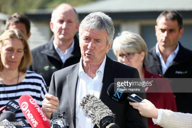 Biosecurity Minister Damien OÕConnor speaks to media during a visit to Julie and Bryce Stevenson's beef farm on October 9 2018 in Masterton New...