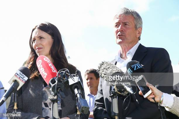 Biosecurity Minister Damien OÕConnor speaks to media while Prime Minister Jacinda Ardern looks on during a visit to Julie and Bryce Stevenson's beef...