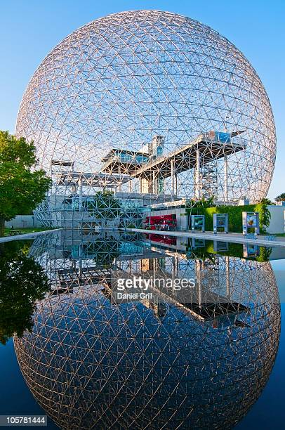 biosphere reflected in water - montréal stock pictures, royalty-free photos & images