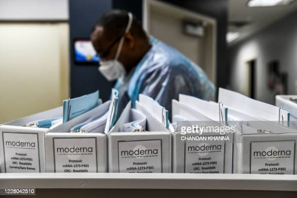 Biotechnology company Moderna protocol files for COVID-19 vaccinations are kept at the Research Centers of America in Hollywood, Florida, on August...