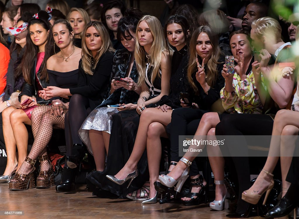 Bip Ling, Alice Dellal, Patsy Kensit, Daisy Lowe, Mary Charteris, Jaime Winstone and Gwendoline Christie attend the GILES show during London Fashion Week Fall/Winter 2015/16 at on February 23, 2015 in London, England.